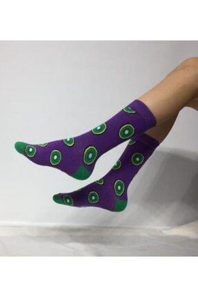 ADEL ÇORAP Unisex Kivi Desenli Mor Soket (Uzun) Çorap