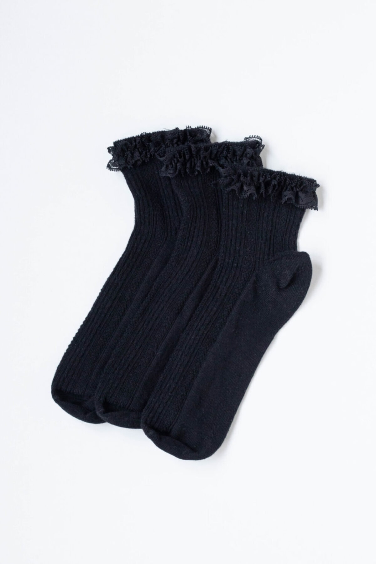 Katia&Bony 3'lü Paket Fırfırlı Kadın Çorap - Siyah /siyah / Siyah 2