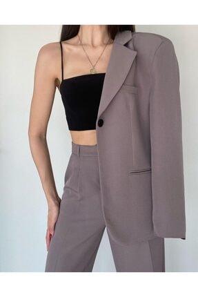 Jojua Kadın Gri Boyfriend Astarlı Ceket Pantolon Klasik Takım