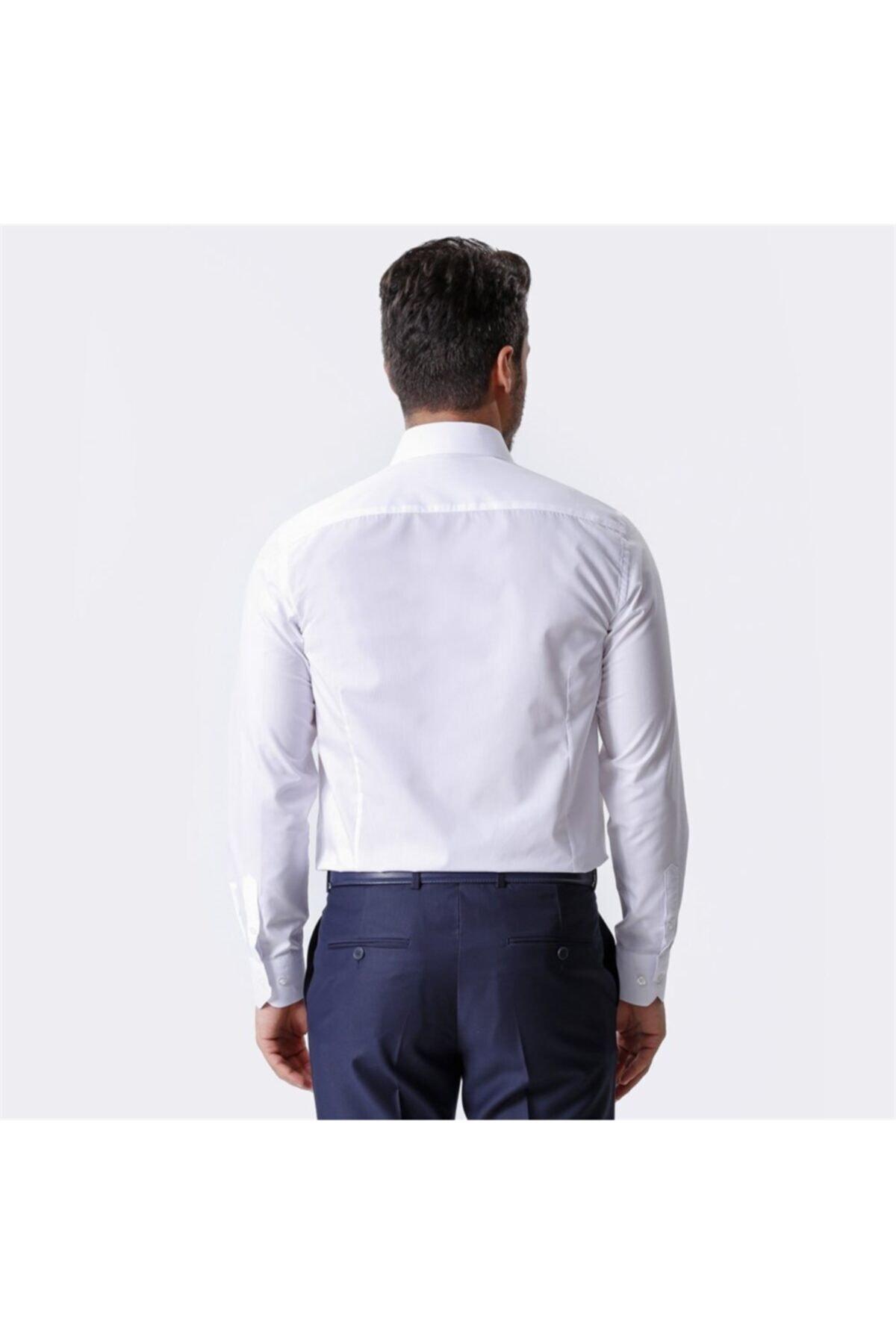 Ottomoda Beyaz Uzun Kollu Klasik Erkek Gömlek 2