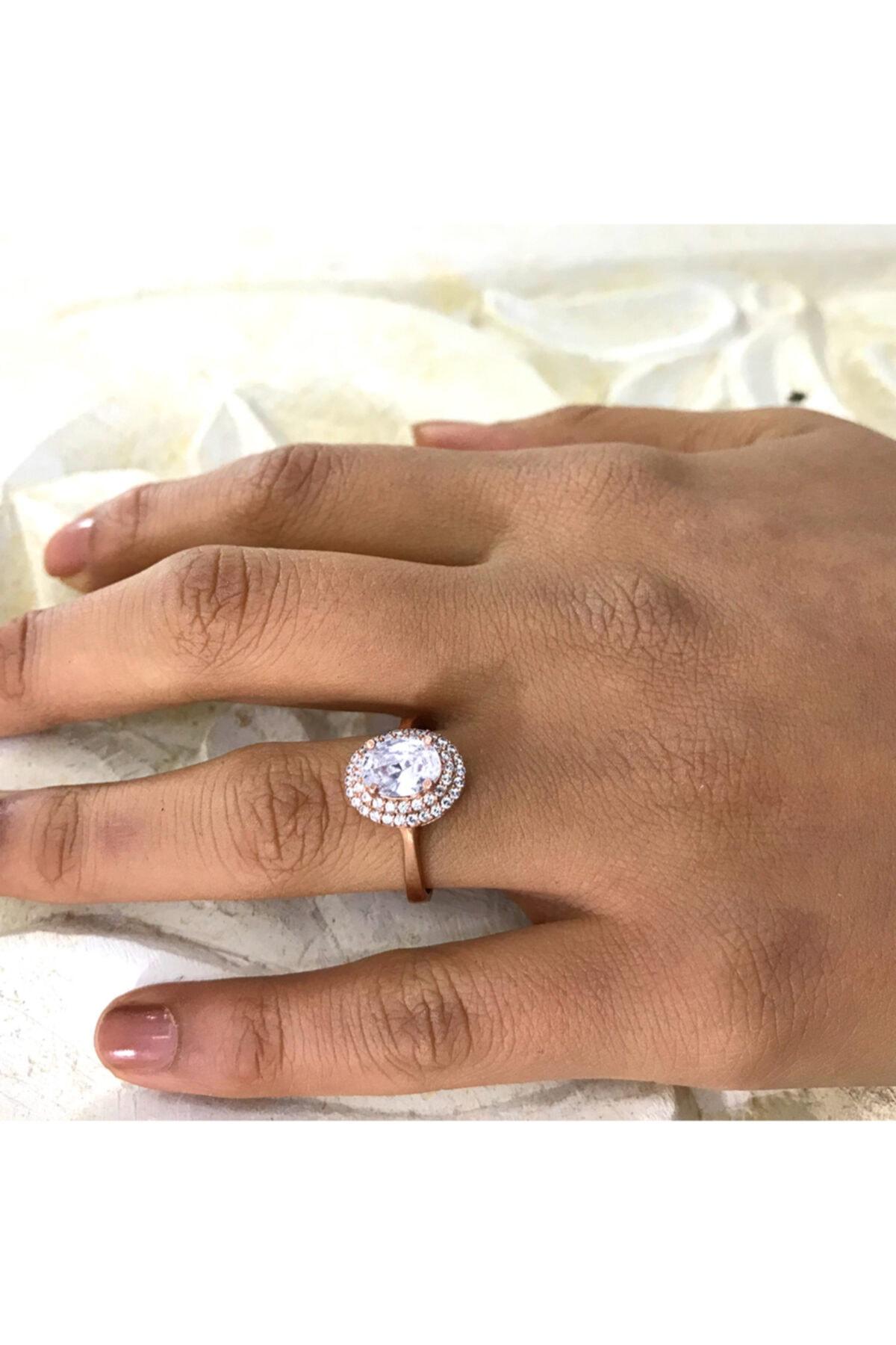 Midyat Gümüş Dünyası Oval Model Beyaz Taşlı Gümüş Bayan Zirkon Yüzük 2
