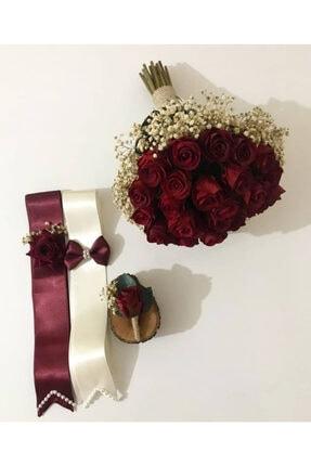 Evsay Gelin Buketi Gelin Eli Çiçeği Damat Yaka Çiçeği Ve Takılık Seti