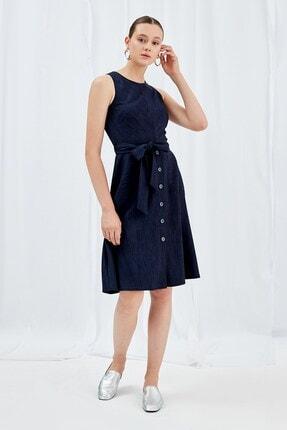 Journey Elbise Sıfır Yaka, Bel Kesit Altı Düğme Detaylı, Belden Kuşaklı, Kolsuz
