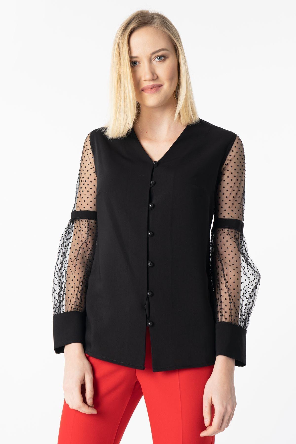MissVina Kolları Tül Salaş Bluz Y-7601-09- Siyah 1