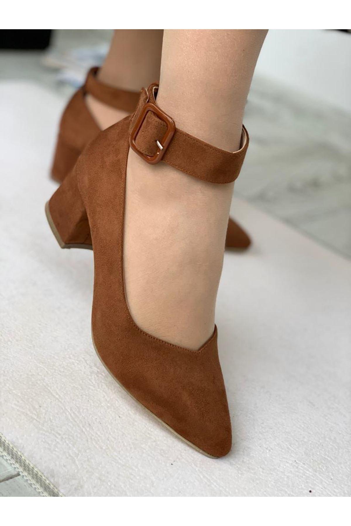 LDÇ Bilekten Kemer Detaylı Kadın Topuklu Ayakkabı-s. Taba 2