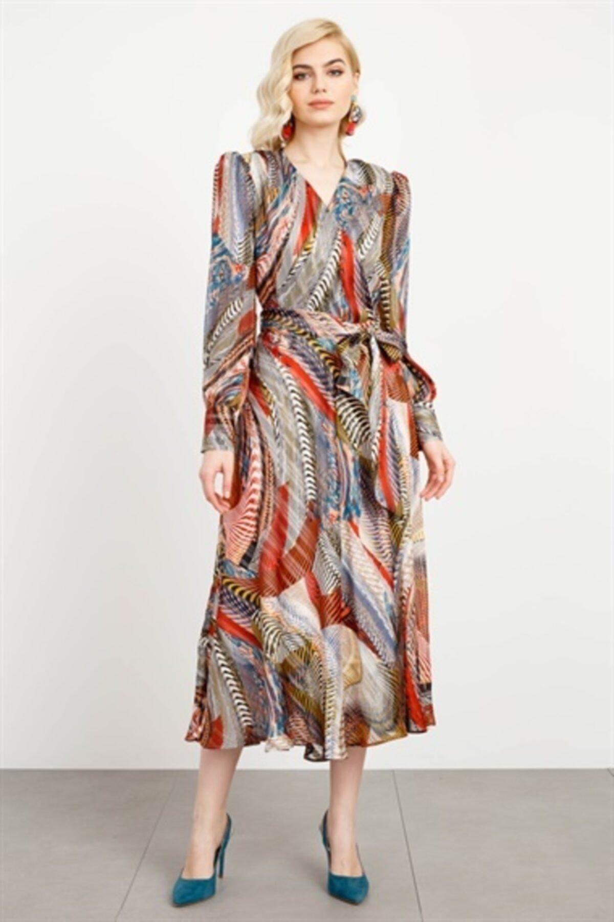 Moda İlgi Kadın Desenli Kruvaze Volanlı Elbise 1