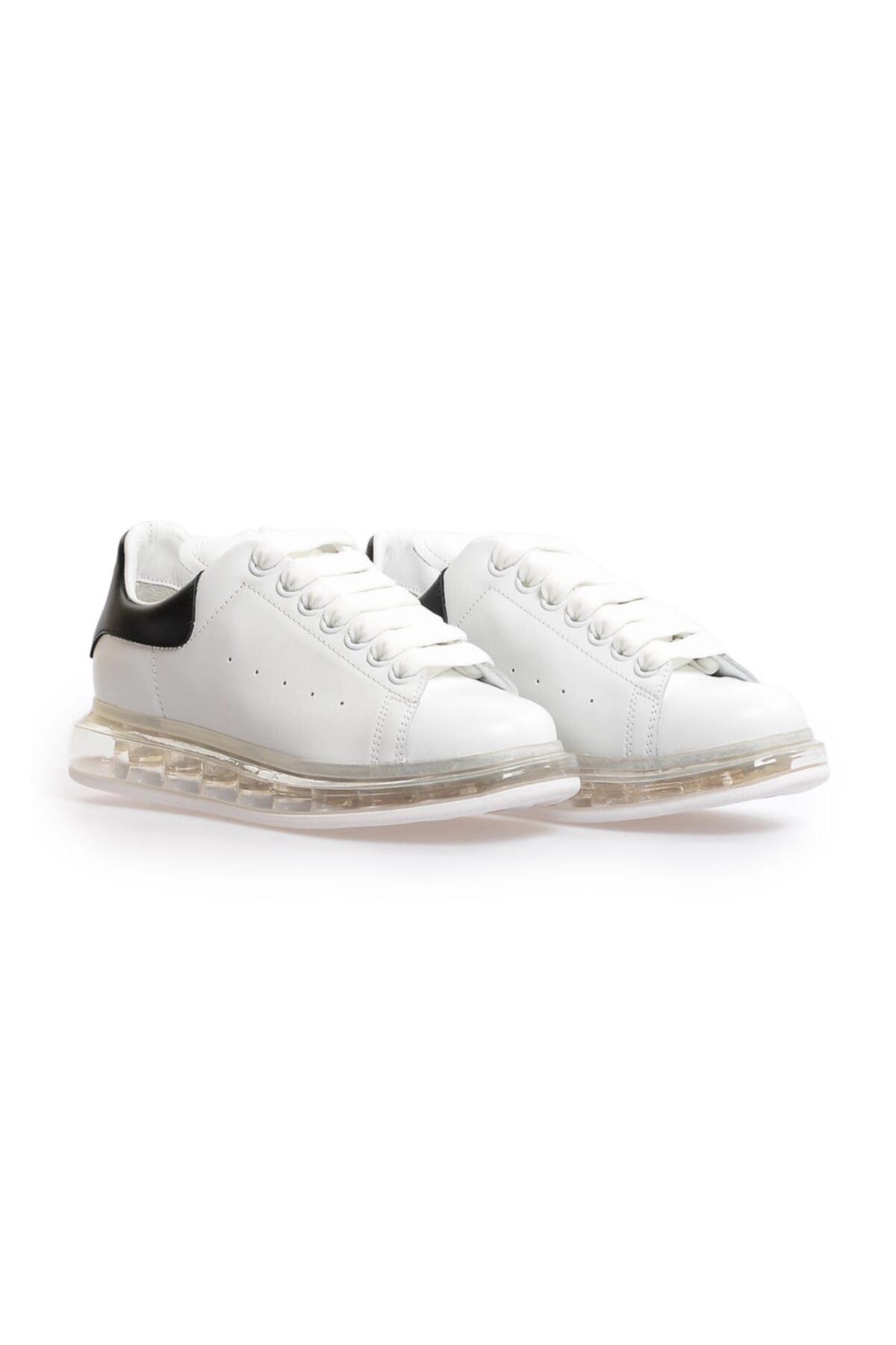 Flower Beyaz Siyah Deri Şeffaf Taban Kadın Sneakers 2