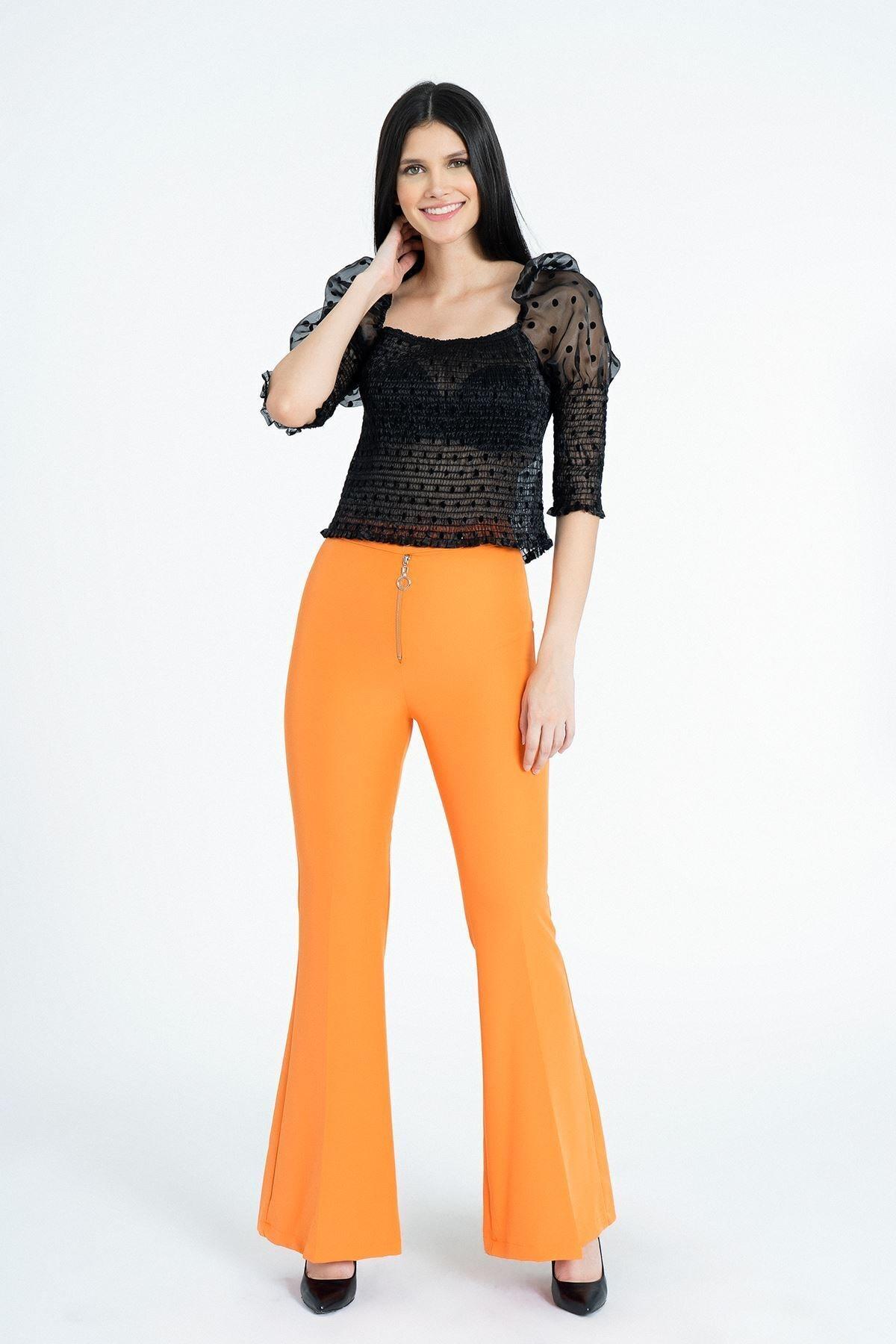 MissVina Kadın Oranj Metal Fermuarlı İspanyol Paça Pantolon Y3679 1