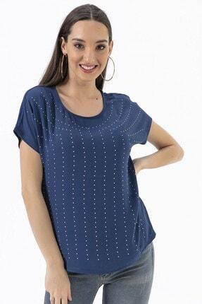 By Saygı Taşlı Krep Likra Bluz Mavi