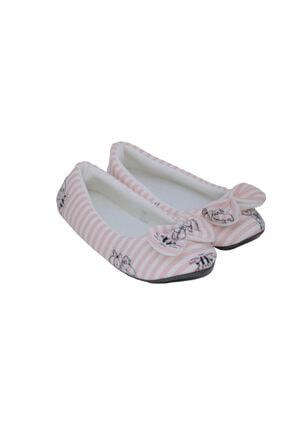 RedPlay Kadın Ev Babeti Ev Ayakkabısı Penye Çizgili Pembe