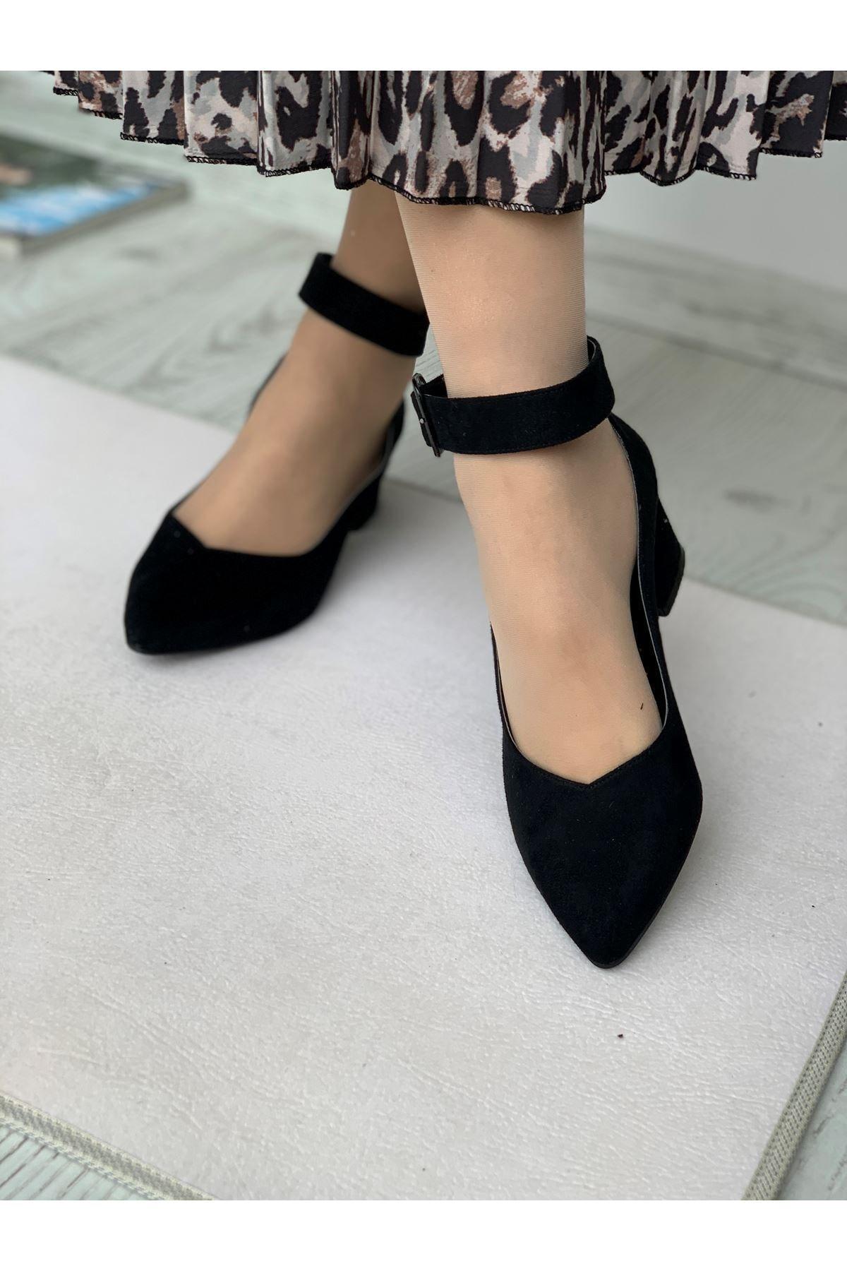 LDÇ Bilekten Kemer Detaylı Kadın Topuklu Ayakkabı-s. Siyah 1