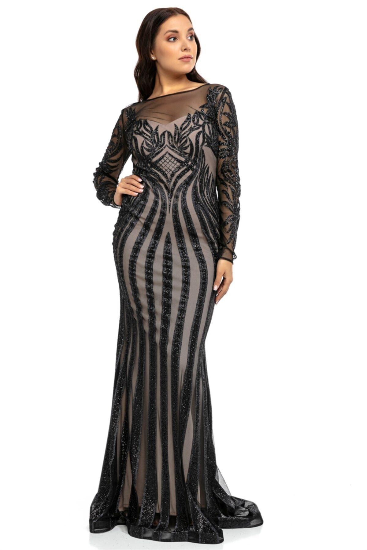 Abiye Sarayı Siyah Bej Transparan Simli Uzun Abiye Elbise 2