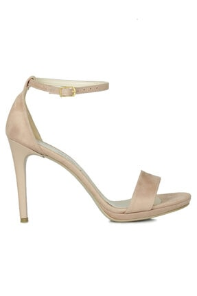 Fitbas 520333 727 Kadın Pudra Süet Topuklu Platform Büyük & Küçük Numara Ayakkabı