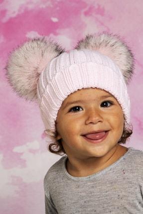 Baby Dora Pembe Çift Ponponlu Bere