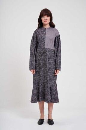 Mizalle Parçalı Desenli Elbise (Gri)
