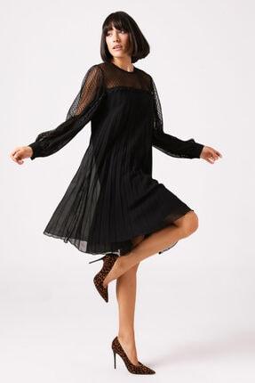 Gusto Dantelli Pilise Elbise - Siyah