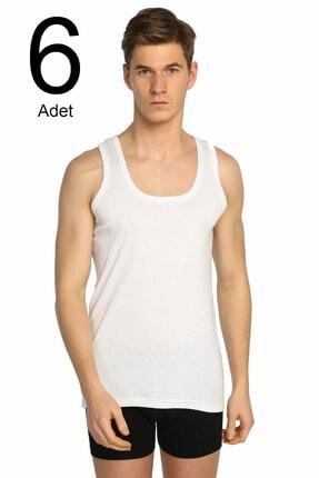 Tutku Erkek Beyaz 6'lı Paket Ribana Klasik Atlet Elf568t0102ccm6