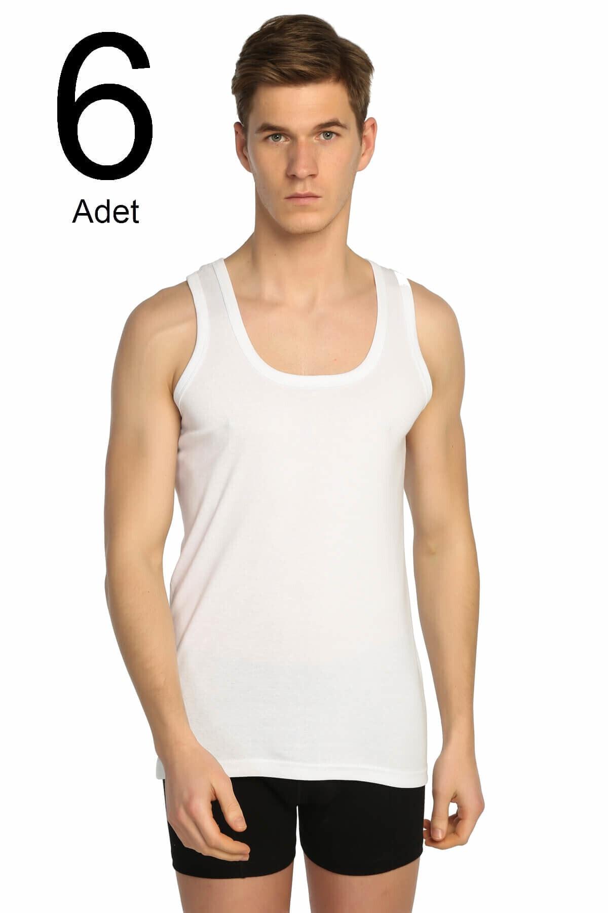 Tutku Erkek Beyaz 6'lı Paket Ribana Klasik Atlet Elf568t0102ccm6 1
