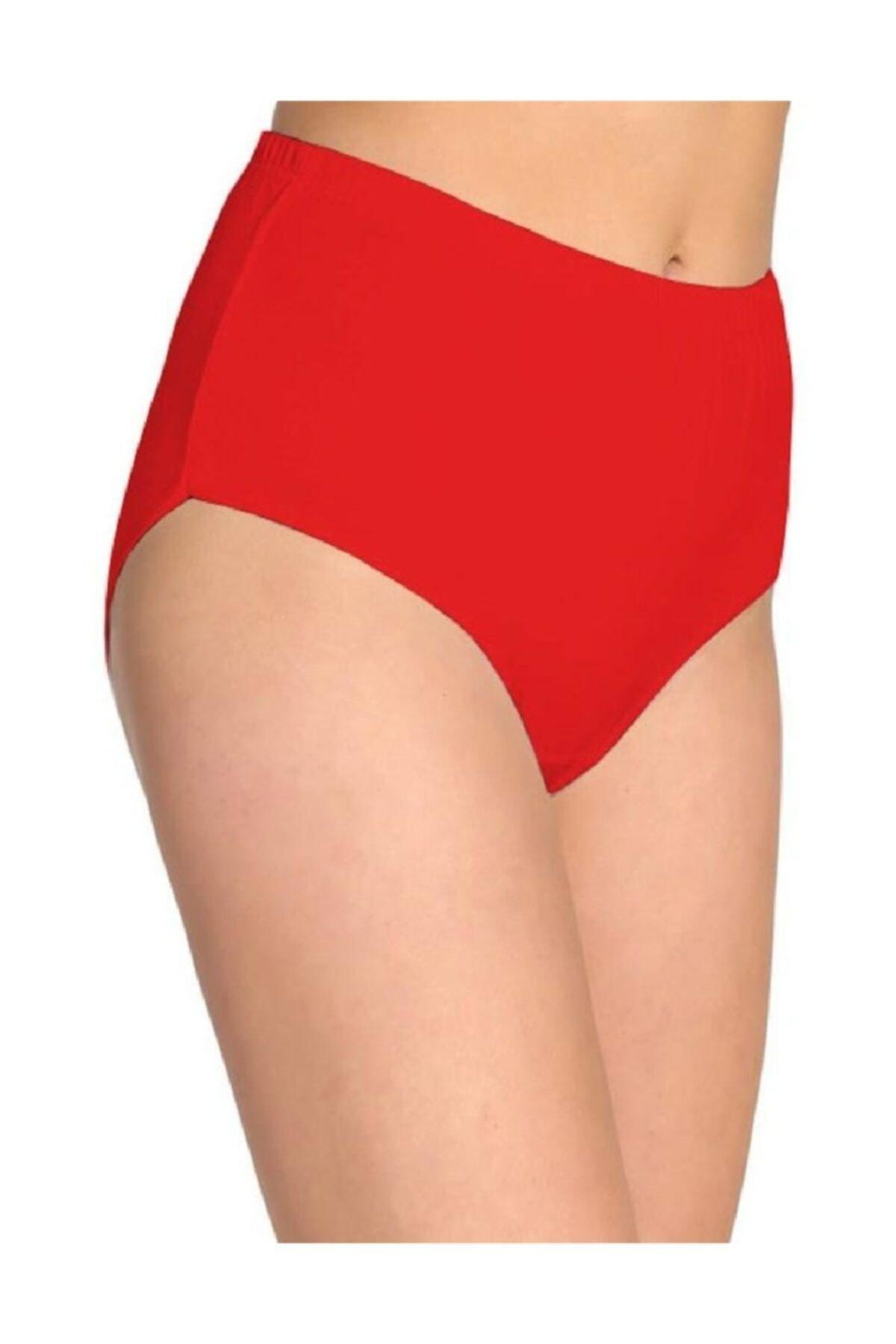 Tutku Kadın Kırmızı 6'lı Paket Pamuklu Ribana Bato Külot 0922 1