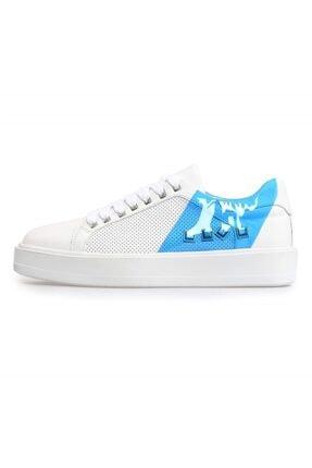 Flower Beyaz Deri Mavi Şeffaf Detaylı Erkek Sneakers