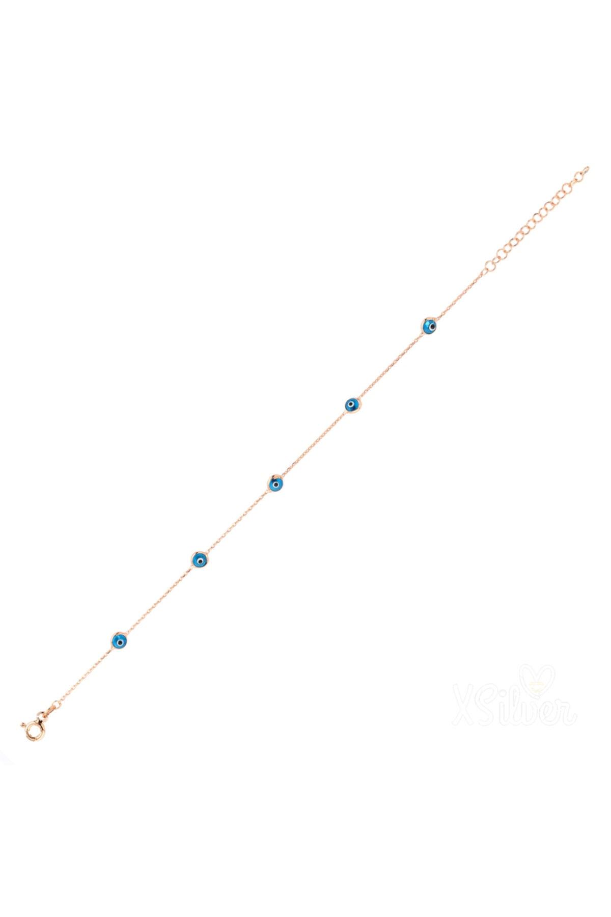 XSilver Kadın Nazar Boncuğu Sıra Taşlı Rose (Pembe) Rengi Gümüş Bileklik 1