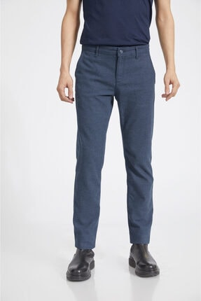 Avva Erkek Lacivert Yandan Cepli Flanel Slim Fit Pantolon A02y3038