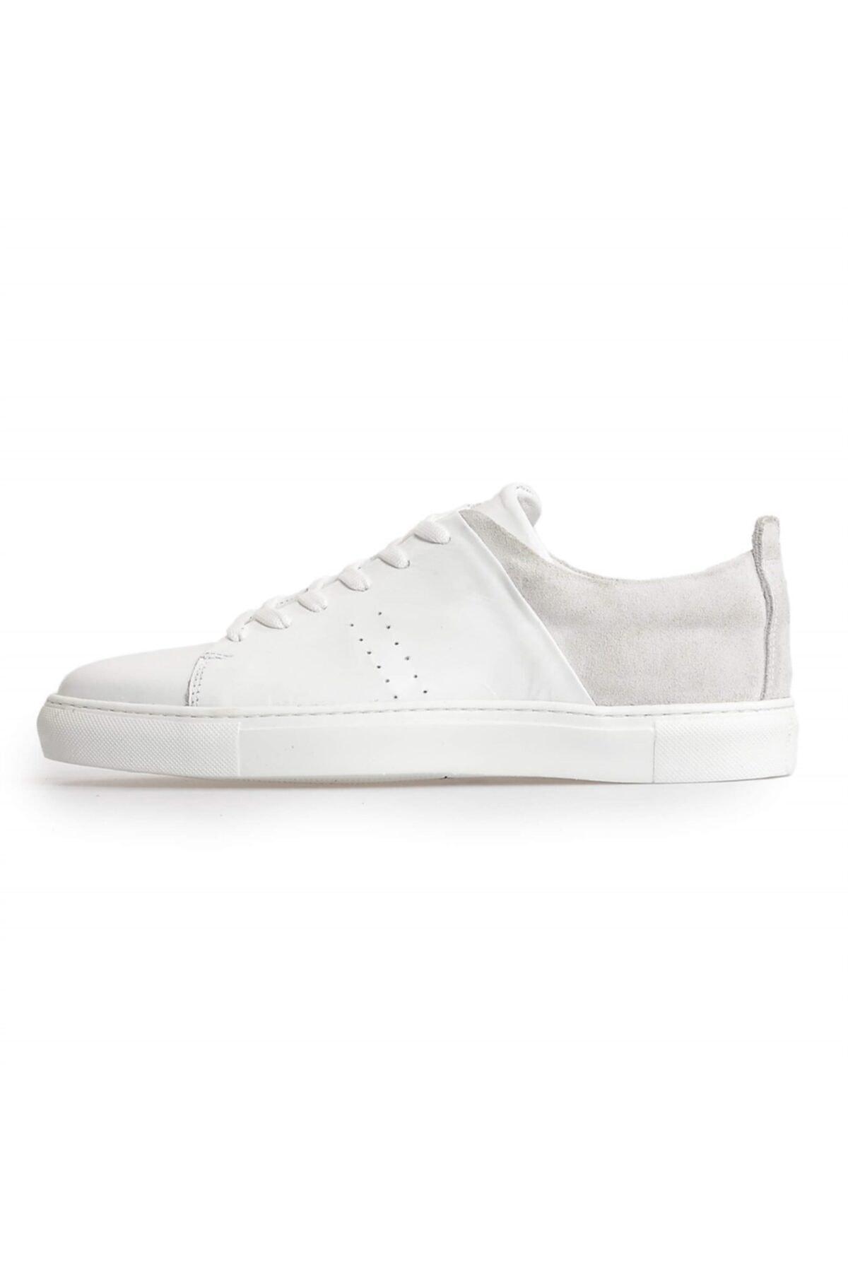 Flower Beyaz Deri Süet Kombin Bağcıklı Erkek Sneakers 1