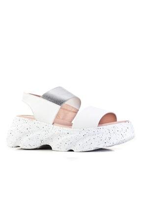 Cabani Günlük Kadın Sandalet Beyaz Deri