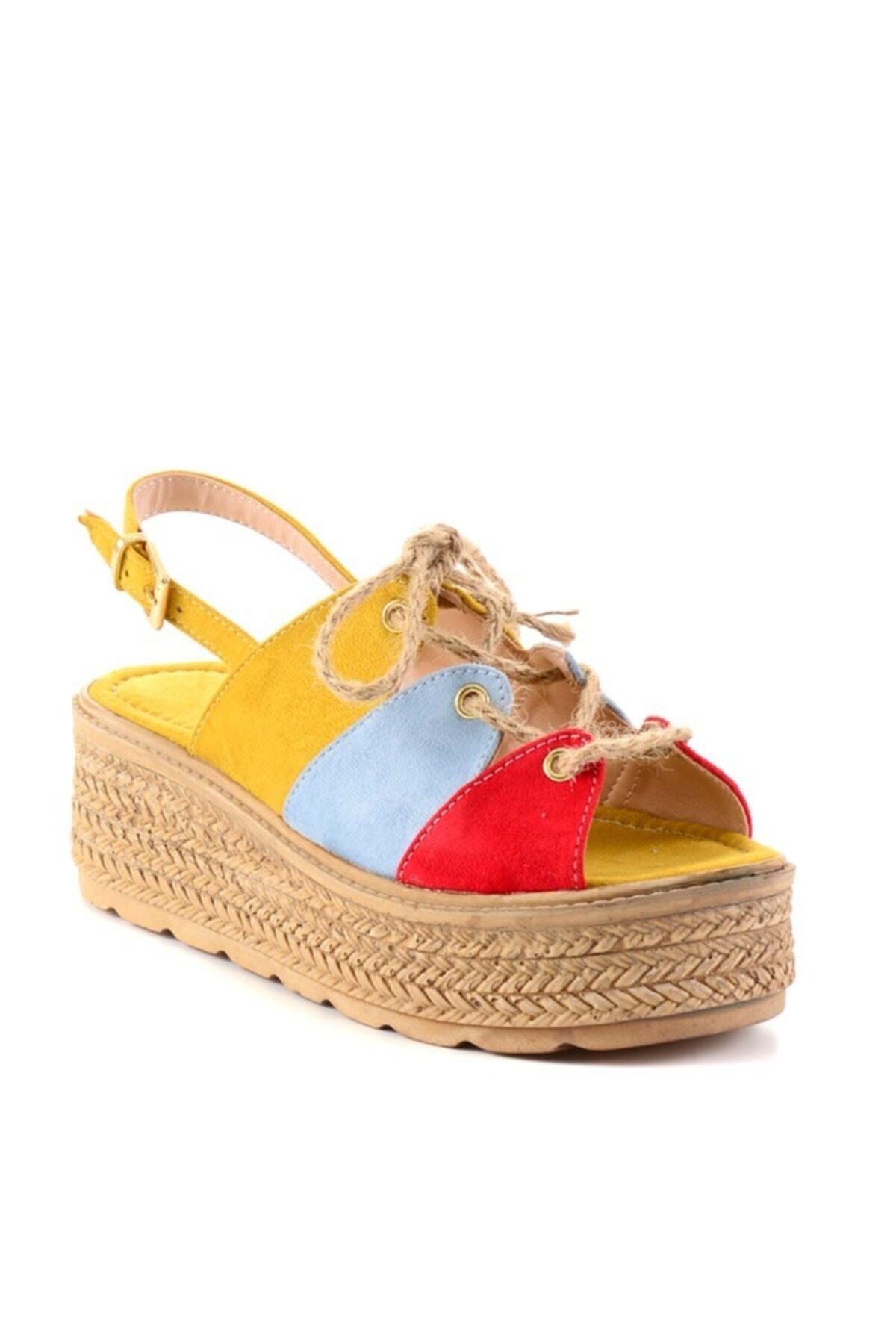 Bambi Turun/b.mavi/sarı Kadın Sandalet H0687001065 2