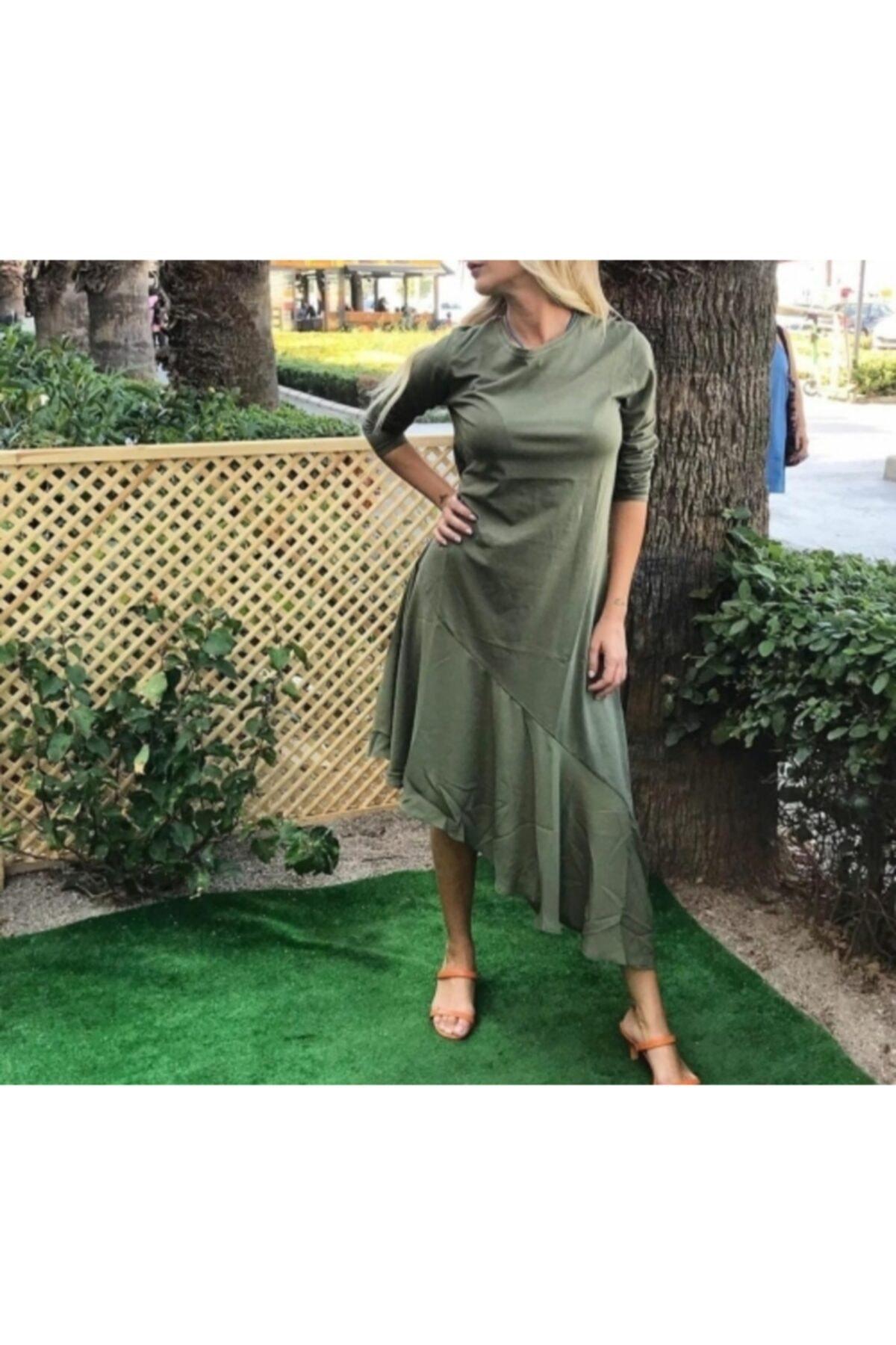 KUMSAL BUTİK Haki Yeşil Günlük Elbise 1