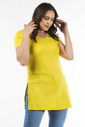 Womenice Sarı V Yaka Yan Yırtmaçlı Tunik