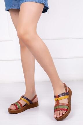 Deripabuc Hakiki Deri Multi-1 Kadın Deri Sandalet Dp-0090