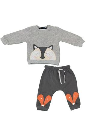 Popolin Erkek Bebek Kışlık Üç Iplik Şardonlu Gri Renk Ikili Takım