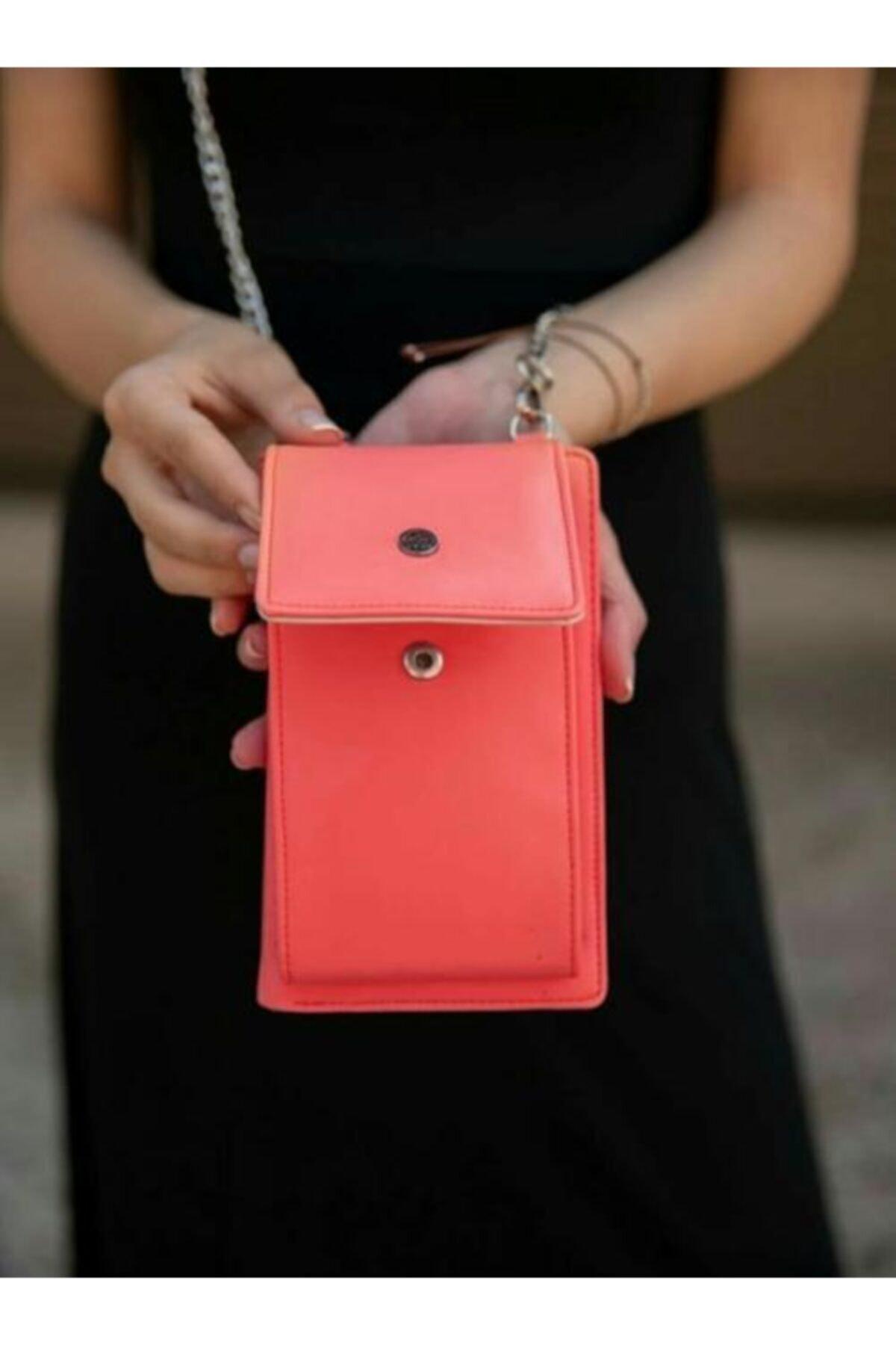 Accessory City Kadın Kırmızı Telefon Bölmeli Şık Omuz Çantası 2