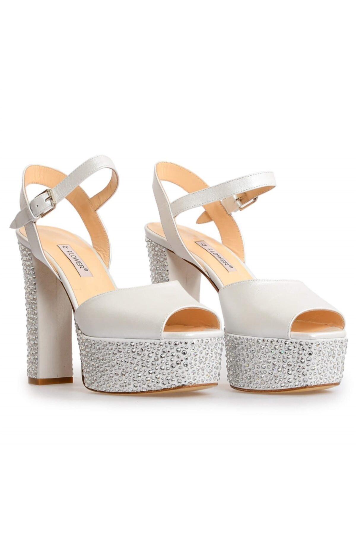 Flower Kadın Beyaz Deri Platformlu Taşlı Abiye Ayakkabı 1