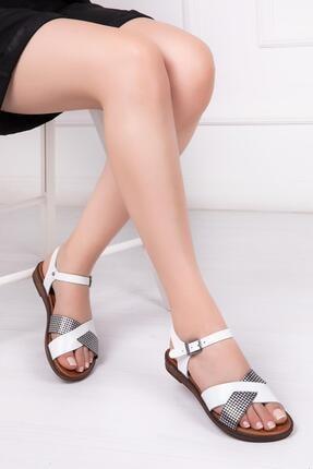 Deripabuc Hakiki Deri Beyaz X3 Kadın Deri Sandalet Dp-0079
