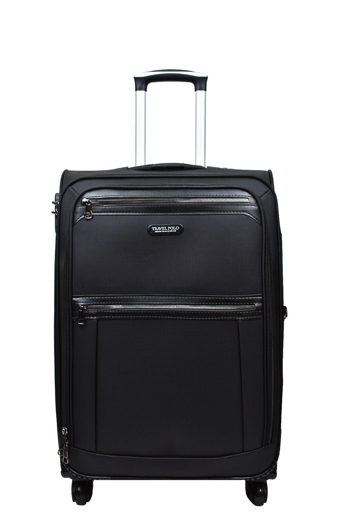 Anka 2'li Valiz Seti Travel Polo Lüx Kumaş Orta Boy Ve Kabin Boy Siyah 2'li Set 2
