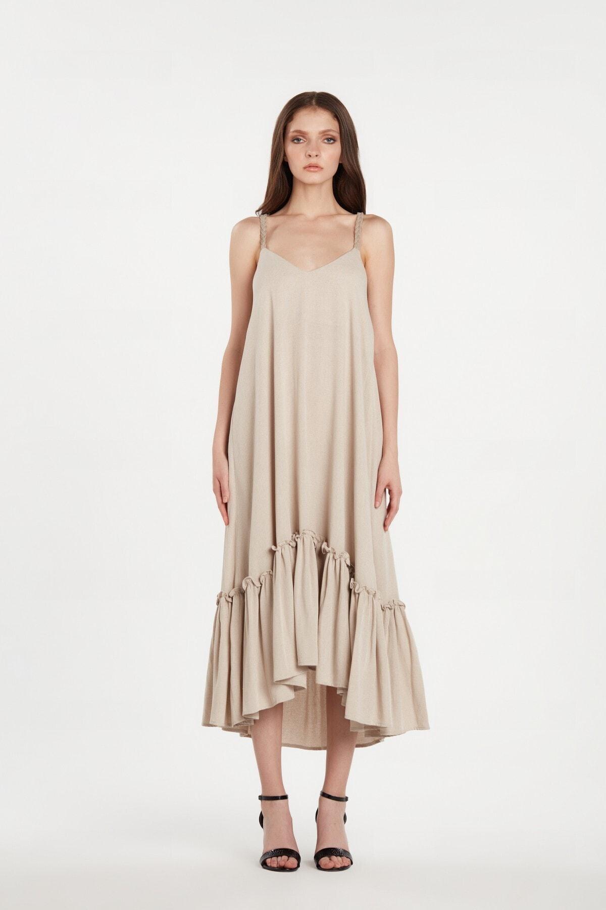 LOVEMETOO Kadın Amelie Bej Rengi Elbise 20y01 1