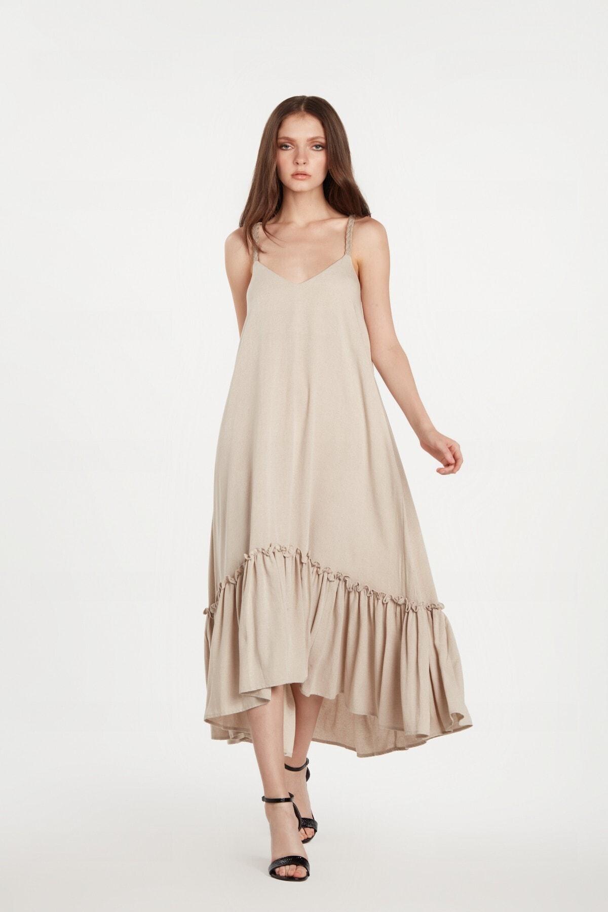 LOVEMETOO Kadın Amelie Bej Rengi Elbise 20y01 2
