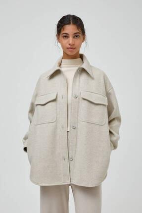 Pull & Bear Pastel Tonlarda Suni Yünlü Ince Ceket
