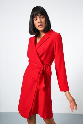 Gusto Anvelop Kesim Ceket Elbise - Kırmızı