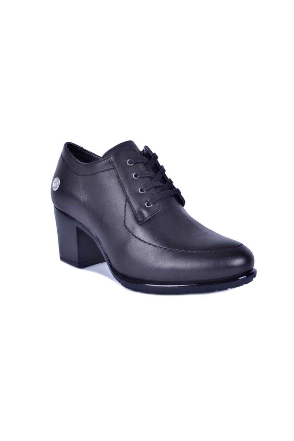 Mammamia Siyah Kadın Topuklu Deri Ayakkabı 740 2