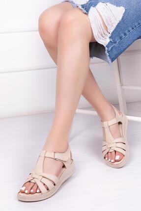 Deripabuc Hakiki Deri Bej Kadın Deri Sandalet Dp41-6010