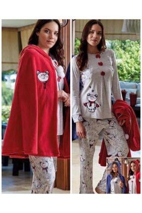 Bone Club 4611 Fuşya Pelerinli Hamile Lohusa 3 Lü Pijama Sabahlık Takım