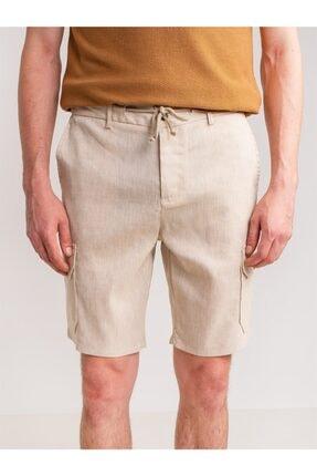 Dufy Bej Melanj Ip Detaylı Cepli Keten Karışımlı Erkek Short - Modern Fit
