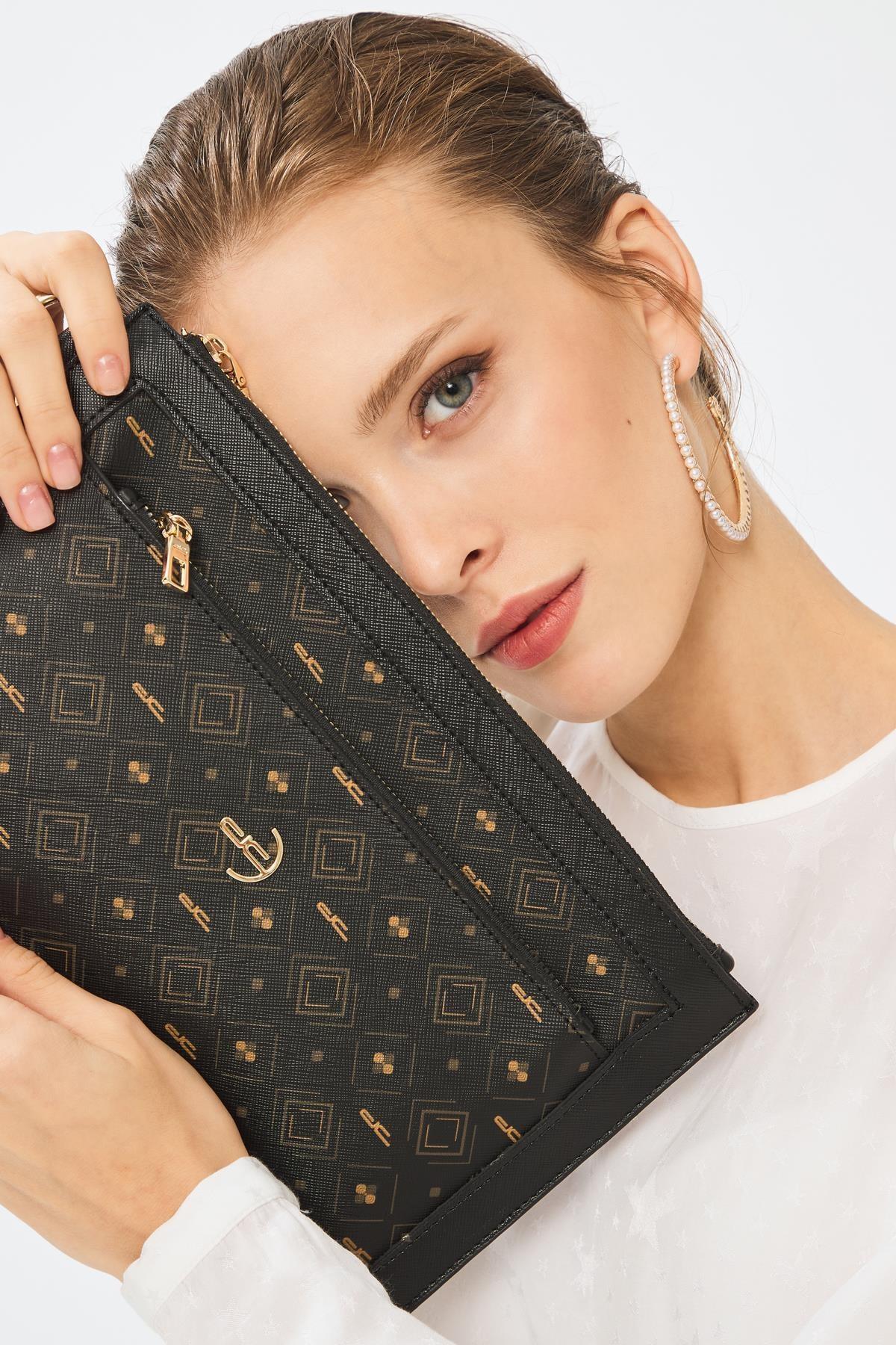 Deri Company Kadın Basic Clutch Çanta Monogram Desenli Siyah Taba 214003 1