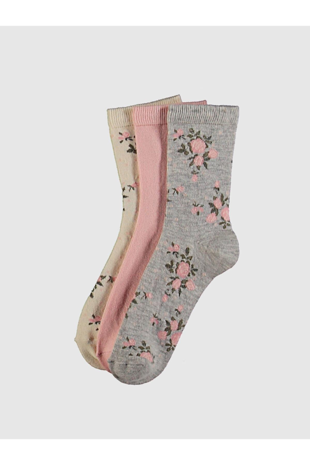 LC Waikiki Kadın Gri Melanj  Soket Çorap 1