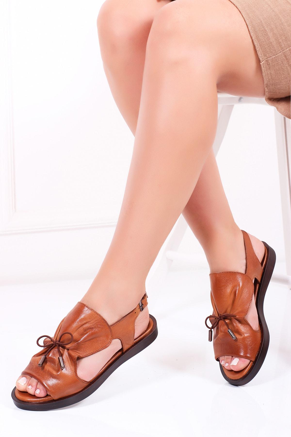 Deripabuc Hakiki Deri Taba Kadın Deri Sandalet Dp26-0592 1
