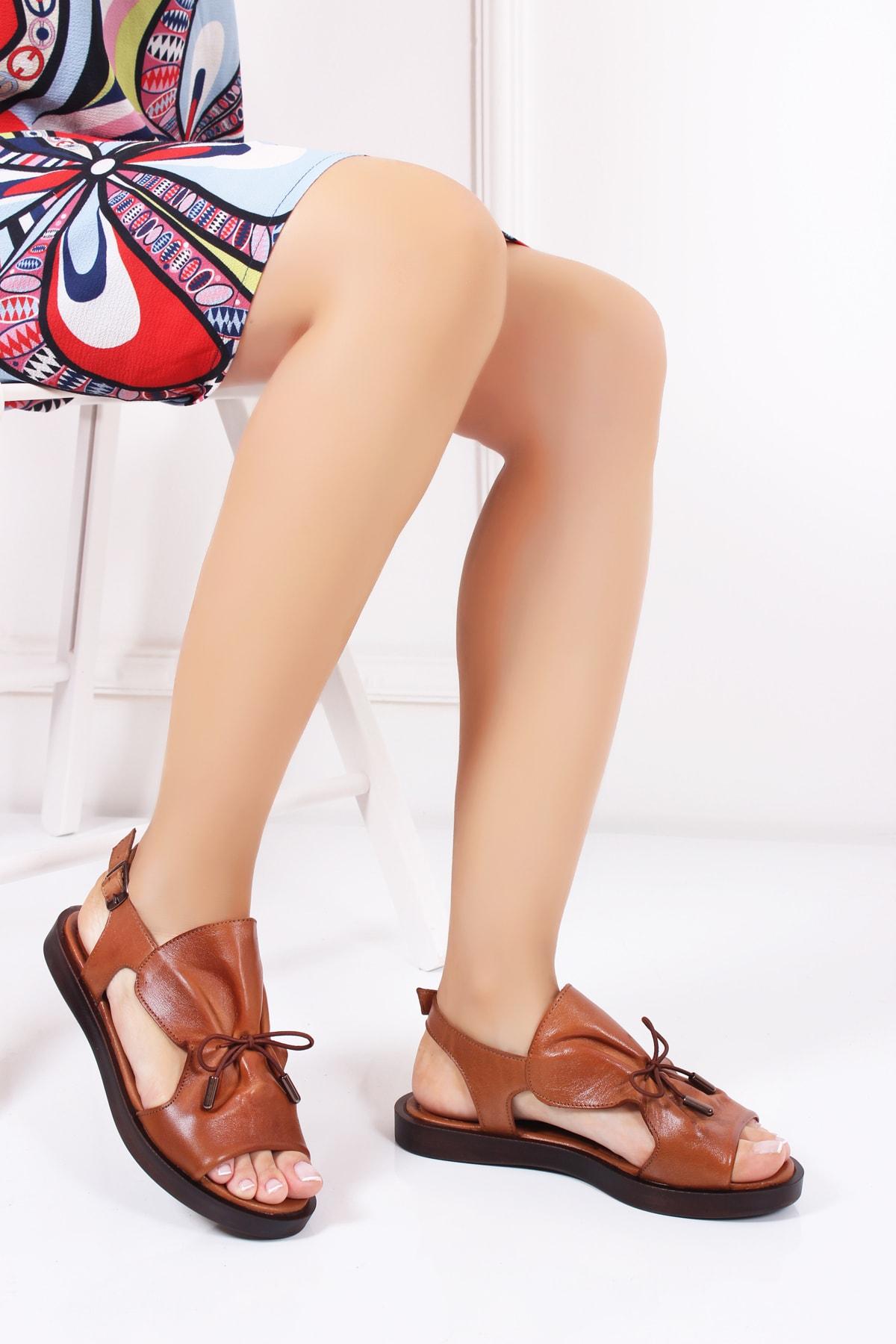 Deripabuc Hakiki Deri Taba Kadın Deri Sandalet Dp26-0592 2