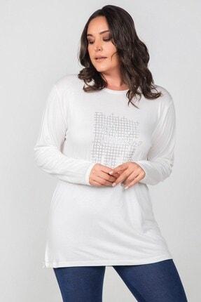 Womenice Büyük Beden Beyaz Valentino Taş Baskılı Bluz